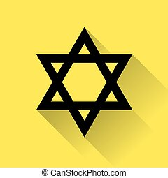 Star of David icon for web, flat design on yellow...
