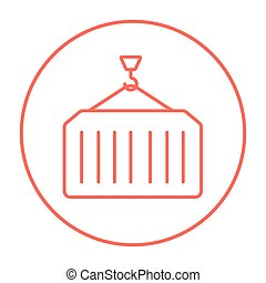 Cargo container line icon - Container lifted by a crane line...
