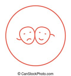 Two theatrical masks line icon. - Two theatrical masks line...