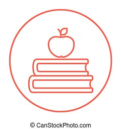 Books and apple on top line icon. - Books and apple on the...