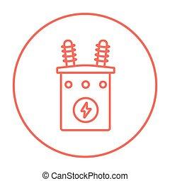High voltage transformer line icon. - High voltage...