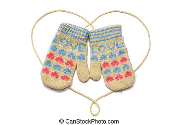 Mittens - Little baby mittensgloves with word LOVE on it...