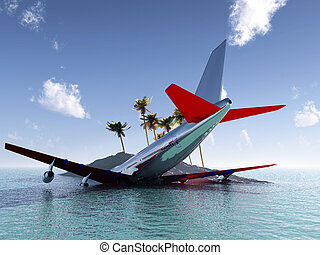 Crashed Plane - A plane that has crashed near a tropical...