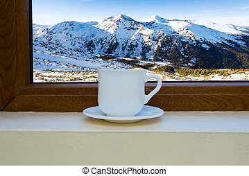 cup on the windowsill - White coffee cup on the windowsill...