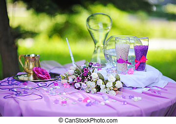 wedding decoration for the sand ceremony on table