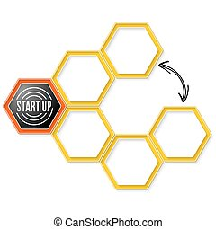 Vector hexagons for your text and start up symbol
