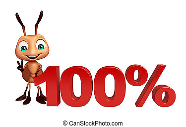 fun Ant cartoon character with 100% sign - 3d rendered...