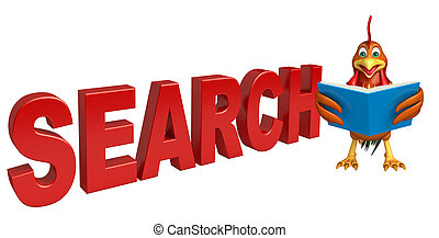 Chicken cartoon character with search sign - 3d rendered...