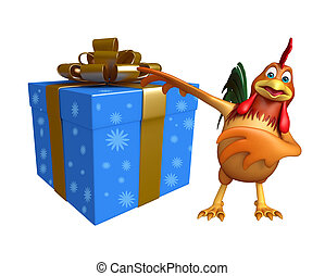 cute Chicken cartoon character with gift box