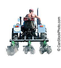 man drives a tractor with special equipment isolated - man...