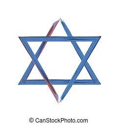 Star of David sign on white, blue