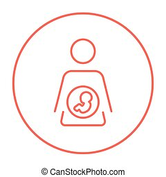 Baby fetus in mother womb line icon - Baby fetus in mother...