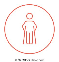 Man with crutches line icon. - Man with crutches line icon...