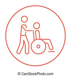 Nursing care line icon. - A man pushing a wheelchair with a...