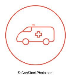 Ambulance car line icon. - Ambulance car line icon for web,...