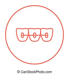 Orthodontic braces line icon - Orthodontic braces line icon...