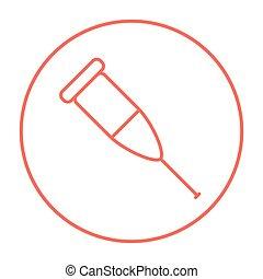 Crutch line icon - Crutch line icon for web, mobile and...