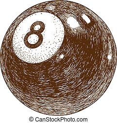 billiards eight ball - Vector antique engraving illustration...