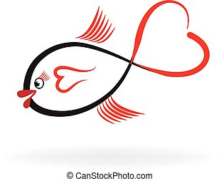Fish heart shape logo vector image