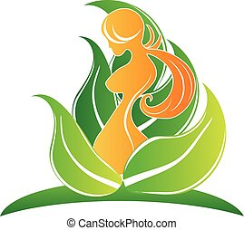 Body care - Beauty body girl with leafs symbol icon vector...