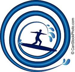 Surfing man on wave logo