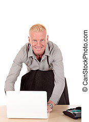 Successful Businessman laptop - Handsome blond smiling mid...