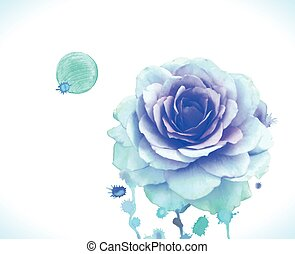 Vector  blue rose