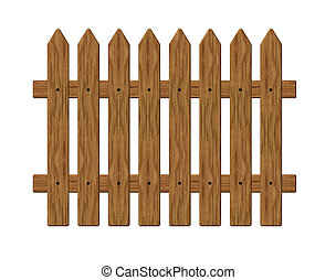 fence - wooden garden barrier on white background - 3d...