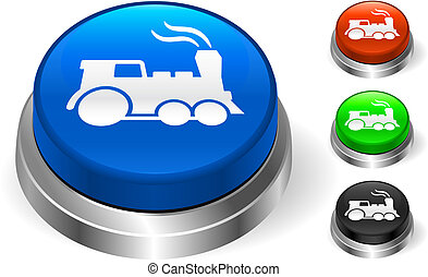 Train Icon on Internet Button Original Vector Illustration...