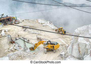 White marble quarries - Broad view of the process in the...