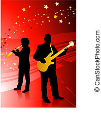 Live Music Band on red background