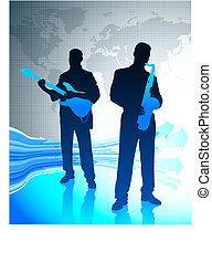 Live Music Band with World Map Background