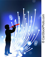 young clarinet player on fiber optic background