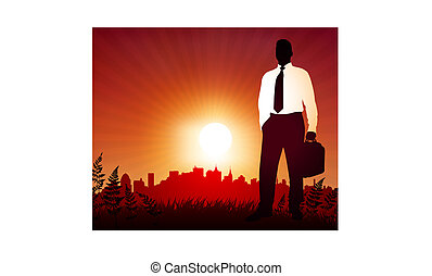 Businessman on sunset background with skyline