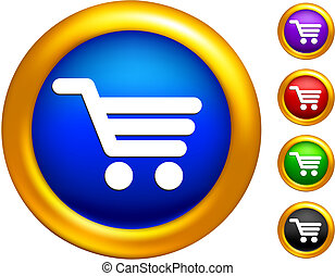 shopping cart icon on  buttons with golden borders