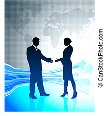 Businessman and Businesswoman on World Map Background
