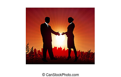 Businessman and Businesswoman meeting on sunset background