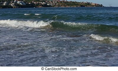 Summer Sea Coast and Surf Waves. - Evening summer sea coast...