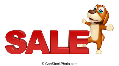 fun Dog cartoon character  with big sale sign