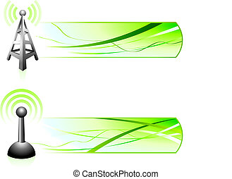 Communication Signal with Banners Original Vector...