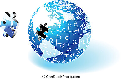 Incomplete Globe Puzzle Original Vector Illustration Globe...