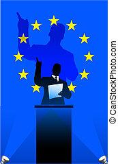 European Union flag with political speaker behind a podium