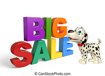 Dog cartoon character  with big sale sign