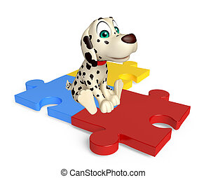 fun Dog cartoon character with puzzle - 3d rendered...