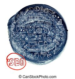 Doodle seo concept with icons in watercolor blue ink stein -...