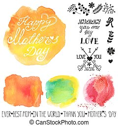 Watercolor steins and headline.Mothers day template -...