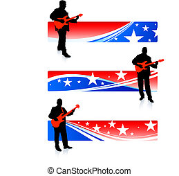 guitarist collection on patriotic internet banners