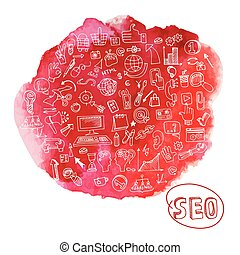 Doodle seo concept with icons in watercolor red stein -...