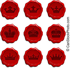 Crown Wax Seal Set Original Vector Illustration