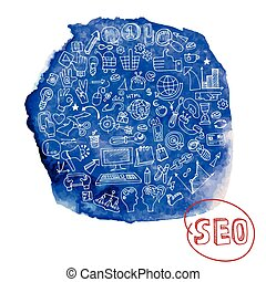 Doodle seo concept with icons in watercolor blue stein -...